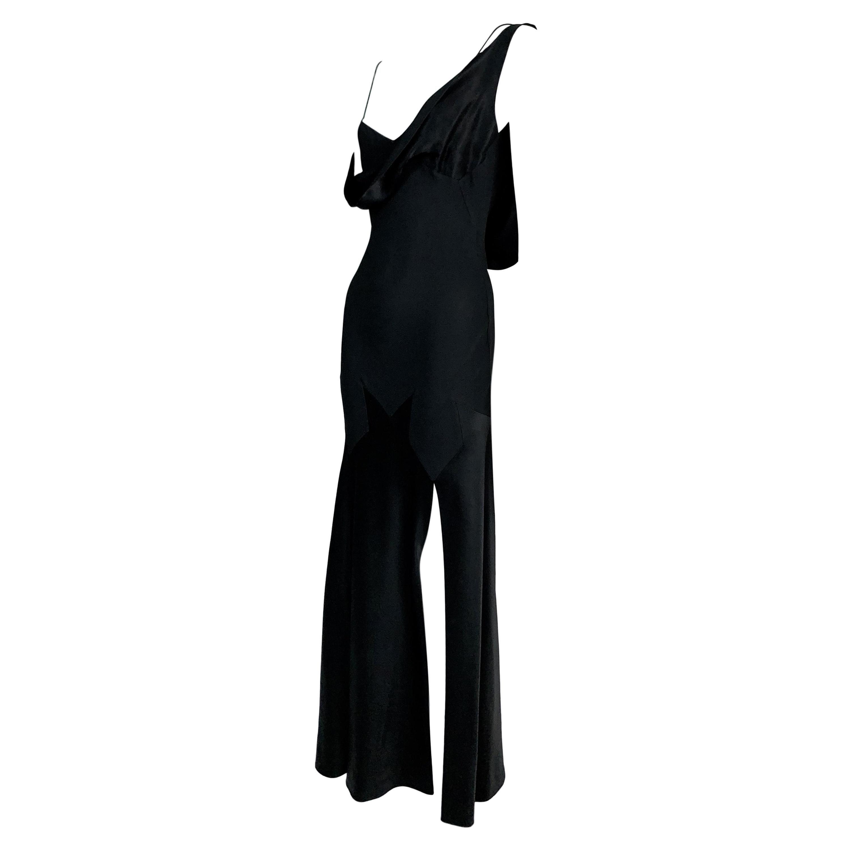 S/S 1995 John Galliano Black Satin Off Shoulder High Slit Star Gown Dress 38