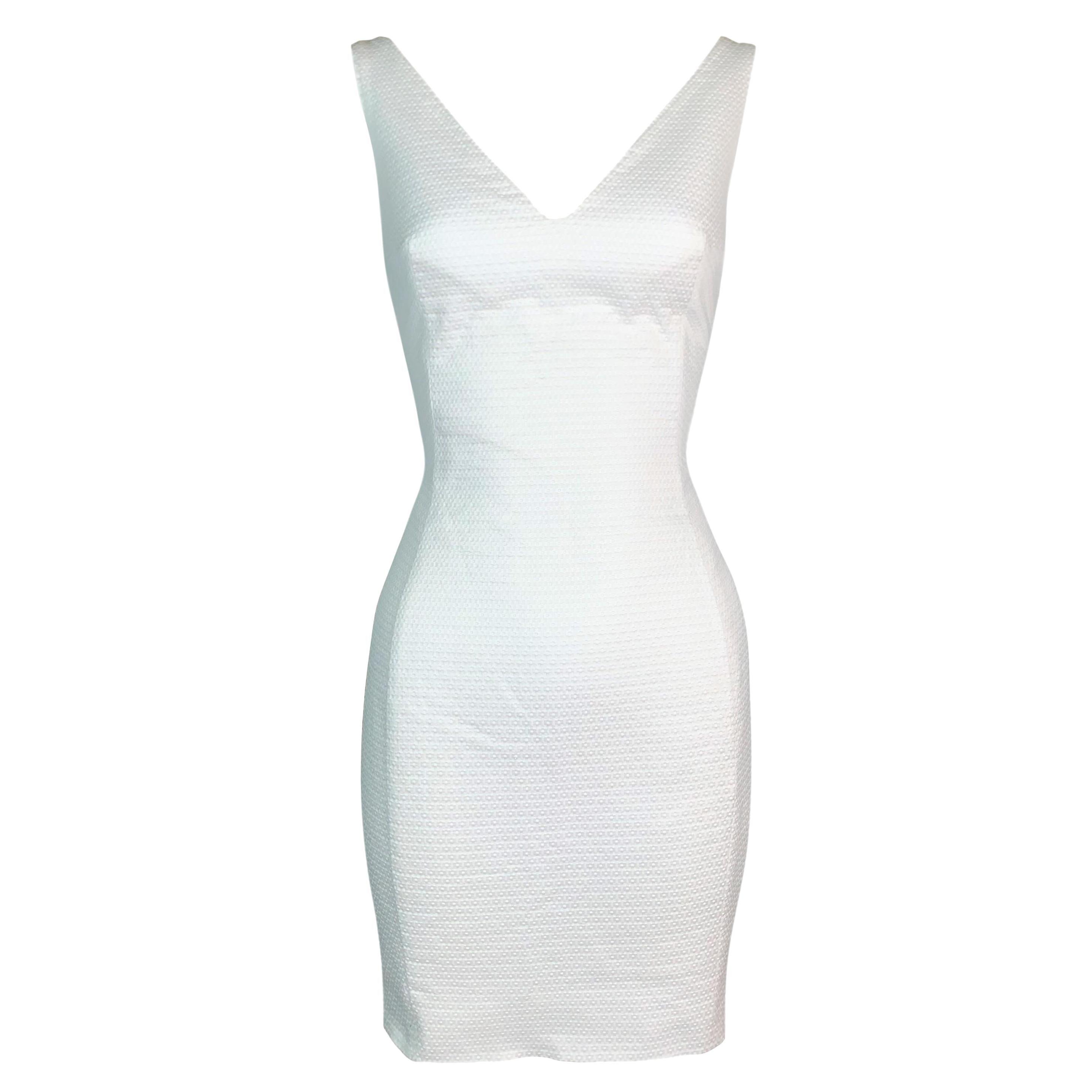 S/S 1995 John Galliano Pin-Up Ivory Textured Wiggle Mini Dress