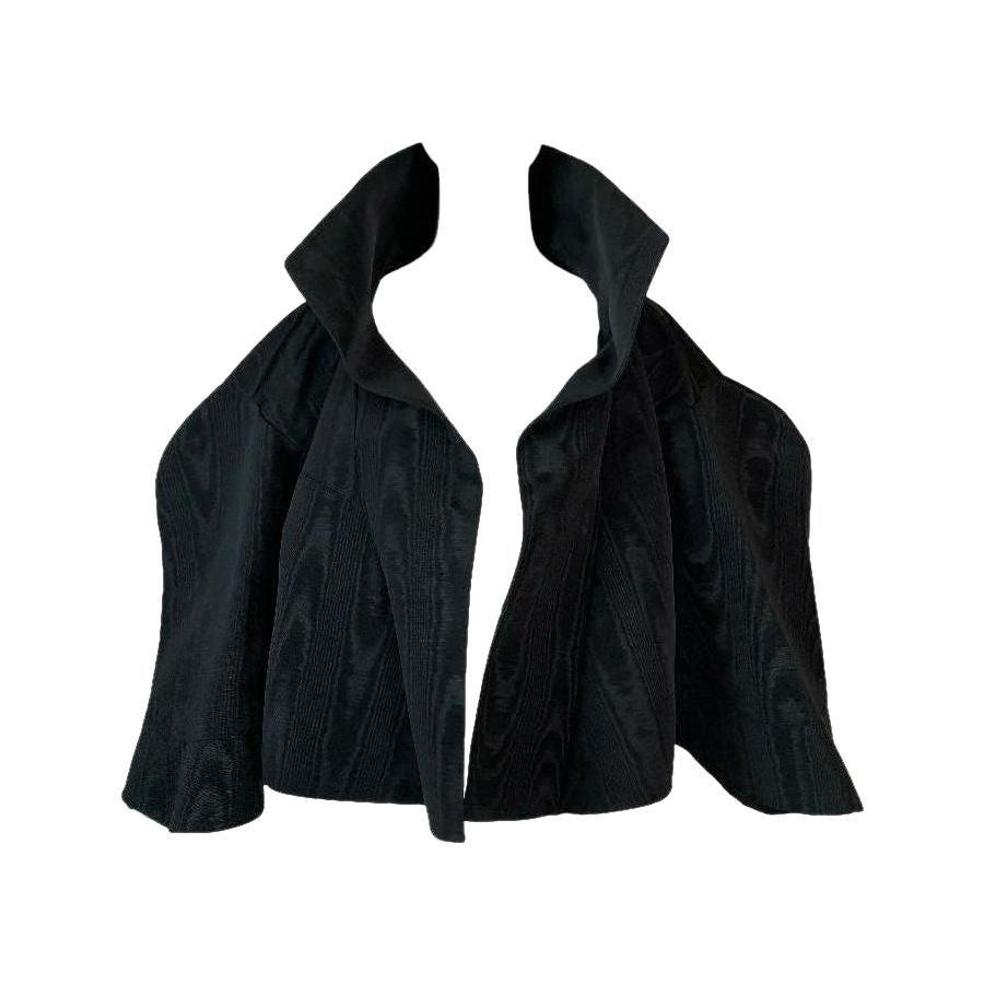 S/S 1995 John Galliano Runway Black Moire 'Misia Diva' Cropped Jacket