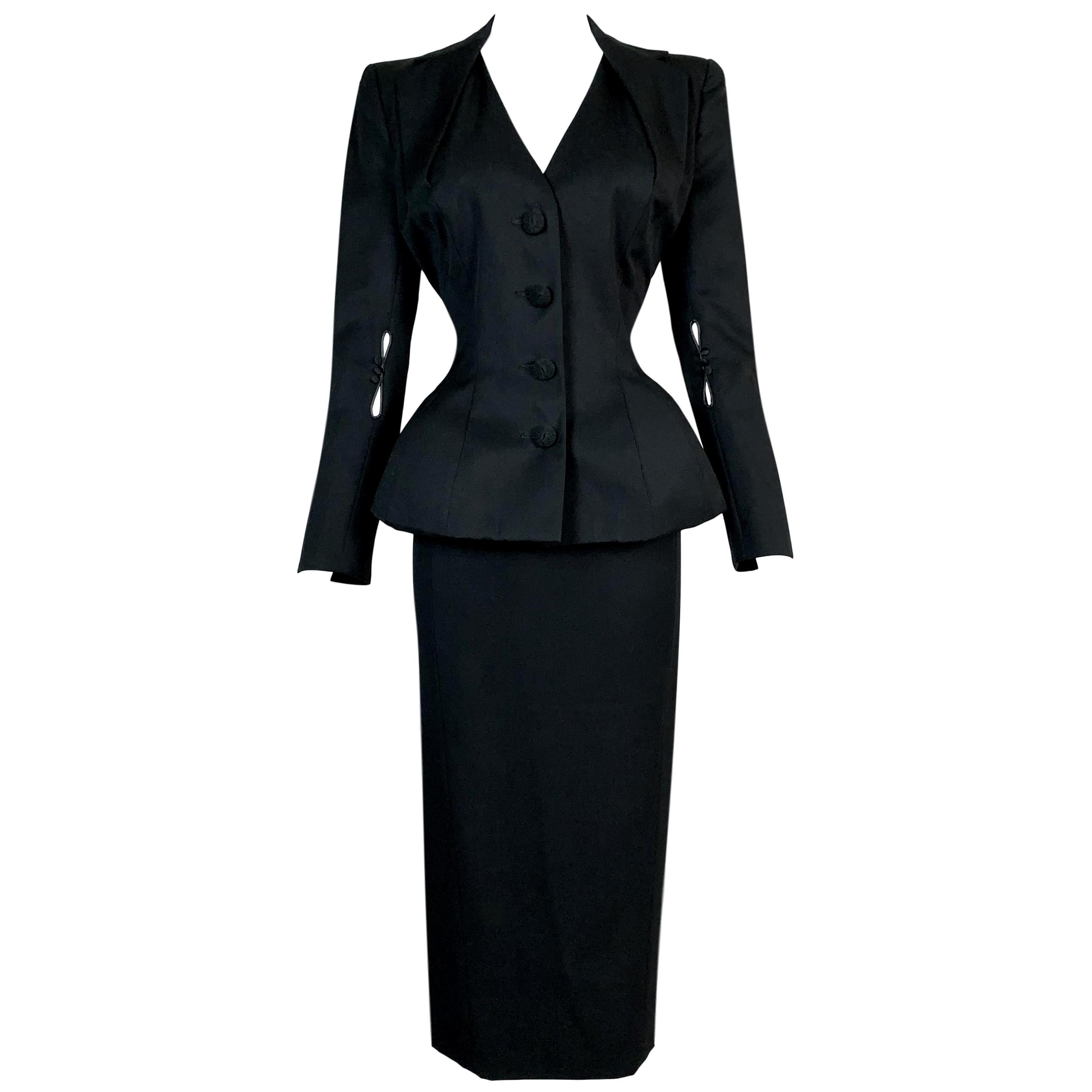 S/S 1995 John Galliano Runway Pin-Up Black Fitted Peplum Skirt Jacket Suit