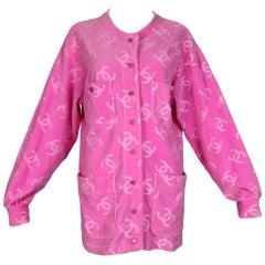 S/S 1996 Chanel Runway Pink Velvet Logo Monogram Jacket Dress