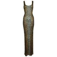 S/S 1996 Dolce & Gabbana Runway Cheetah Extra Long Slinky Gown Maxi Dress