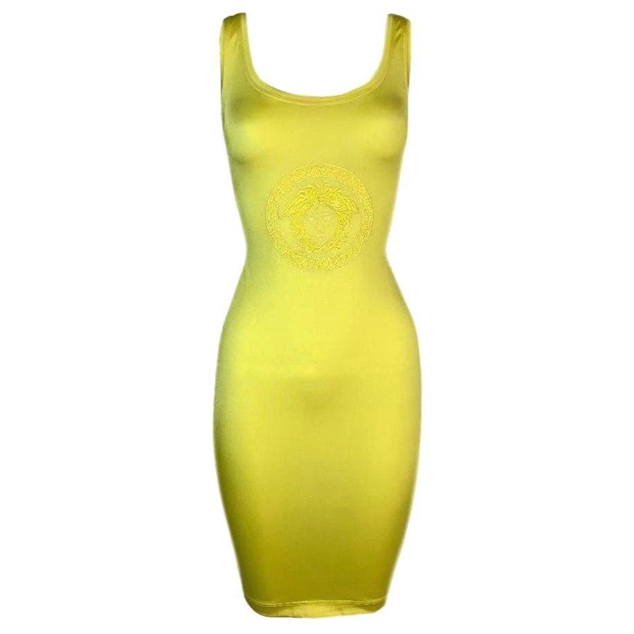 S/S 1996 Gianni Versace Neon Yellow Medusa Logo Bodycon Mini Dress