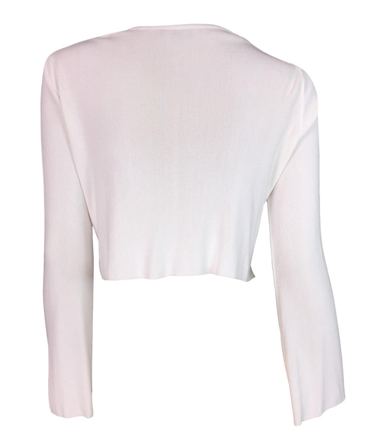 7448a5515a2 S/S 1996 Gucci by Tom Ford White Plunging L/S Crop Top For Sale at ...