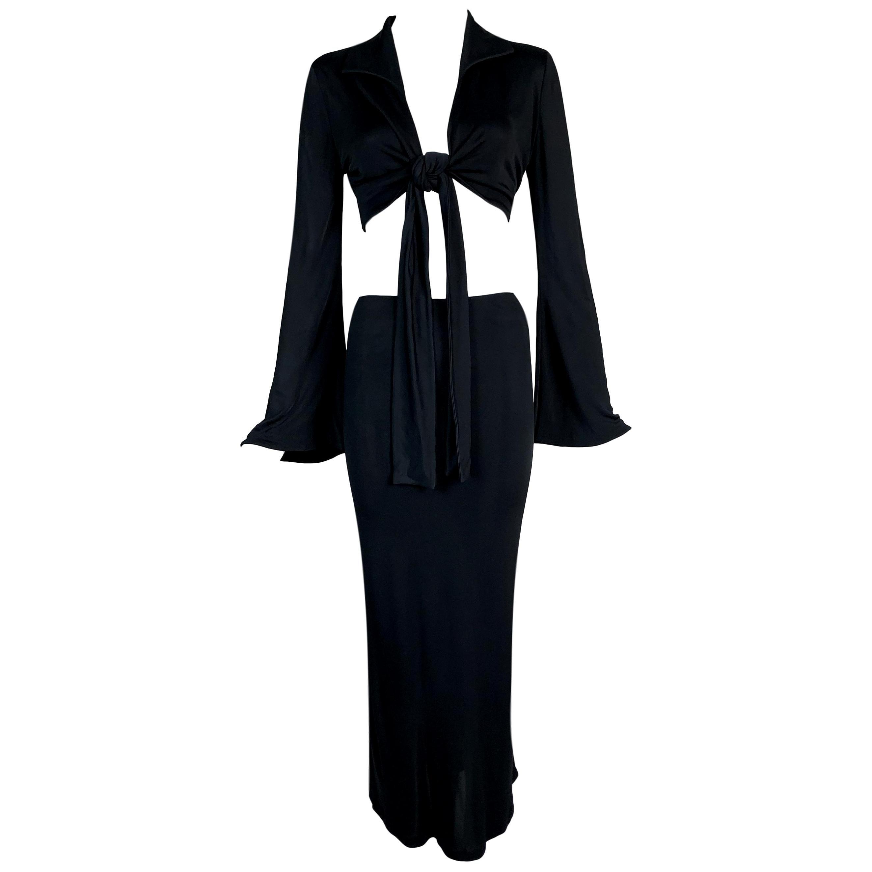S/S 1996 Gucci Tom Ford Runway Black Wrap Crop Top & Long Skirt Set 40
