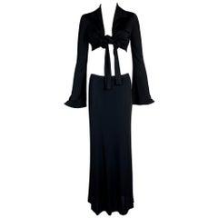 S/S 1996 Gucci Tom Ford Runway Black Wrap Crop Top & Long Skirt Set 42