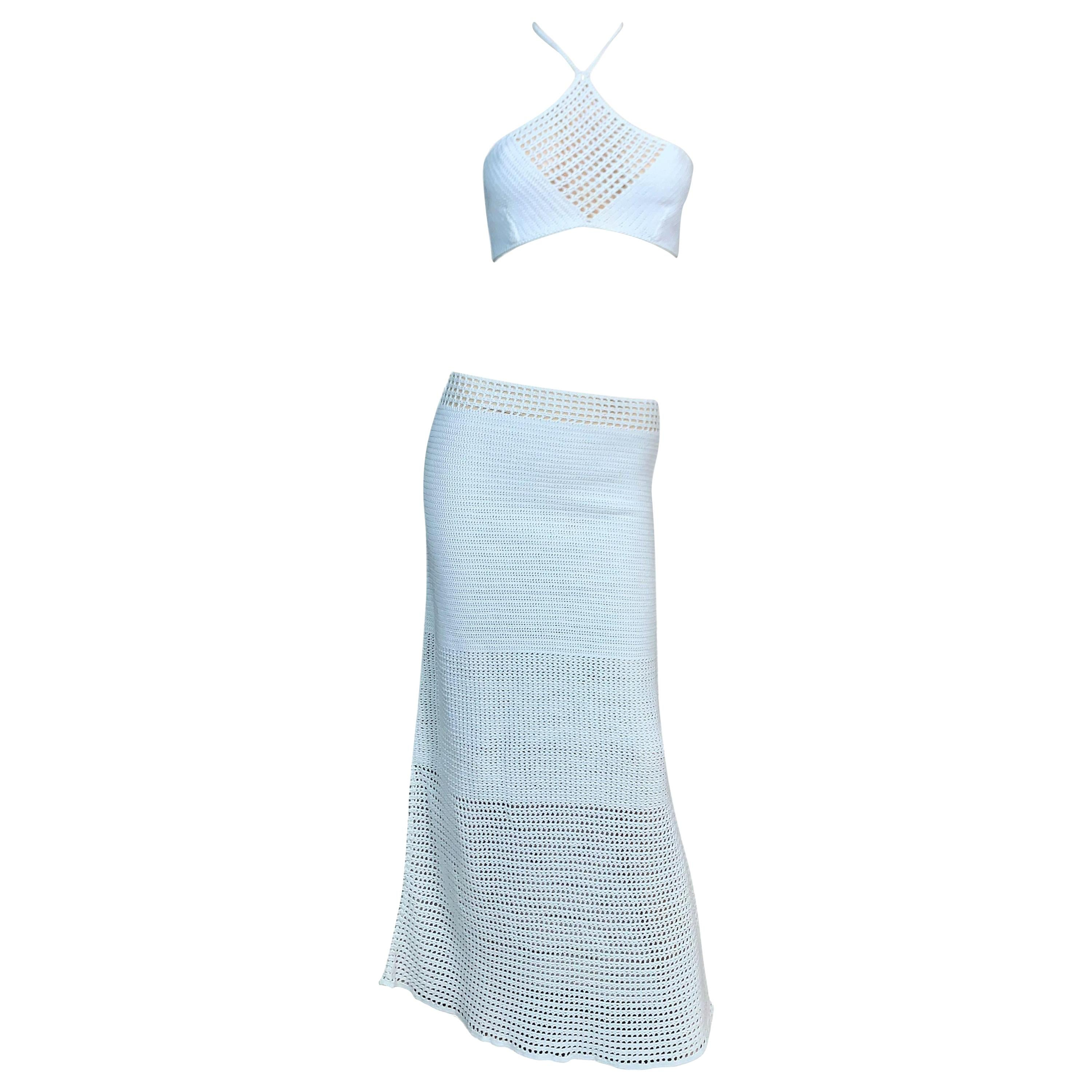 S/S 1996 Gucci Tom Ford Runway Sheer White Knit Crop Top & Maxi Skirt Set