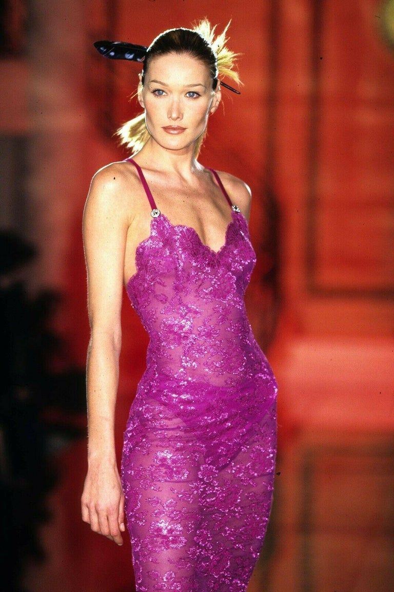 S 1996 Iconic Vintage Versace Atelier Pink Lace Gown As Seen In Met Museum