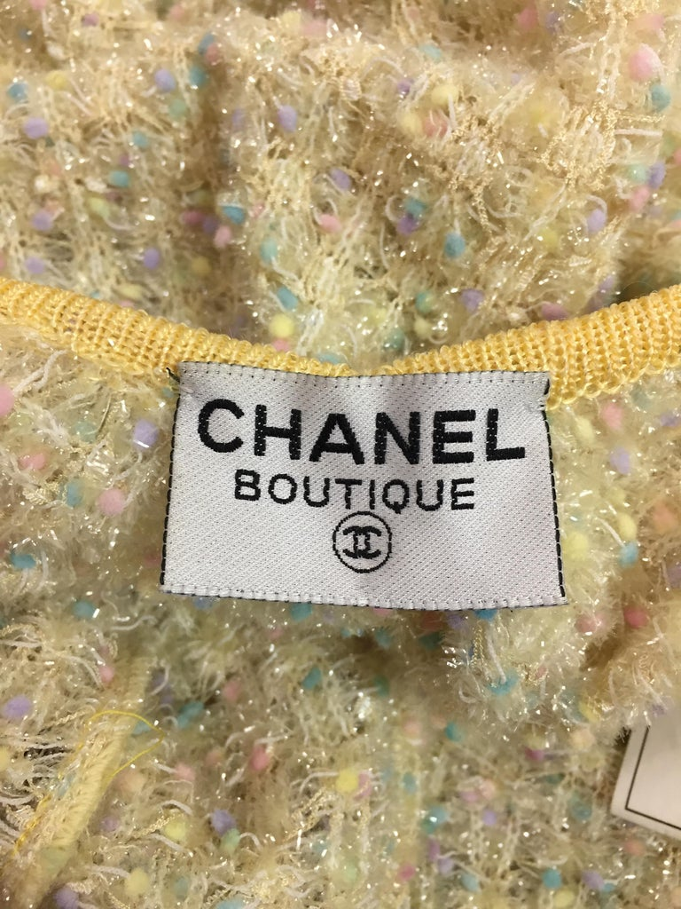 Women's S/S 1997 Chanel Sheer Knit Plunging Back Confetti Tweed Wiggle Long Dress For Sale