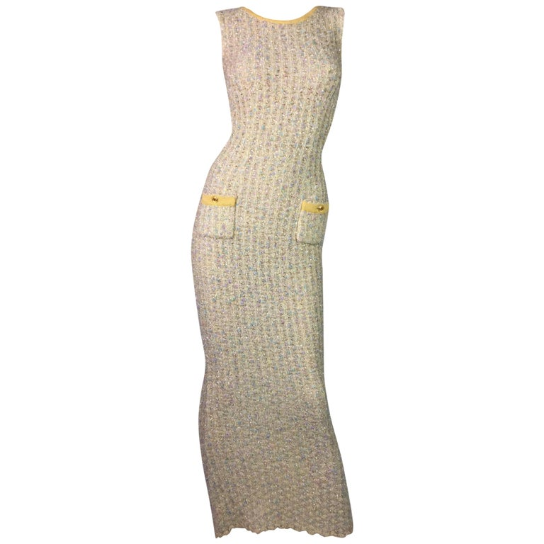 S/S 1997 Chanel Sheer Knit Plunging Back Confetti Tweed Wiggle Long Dress For Sale