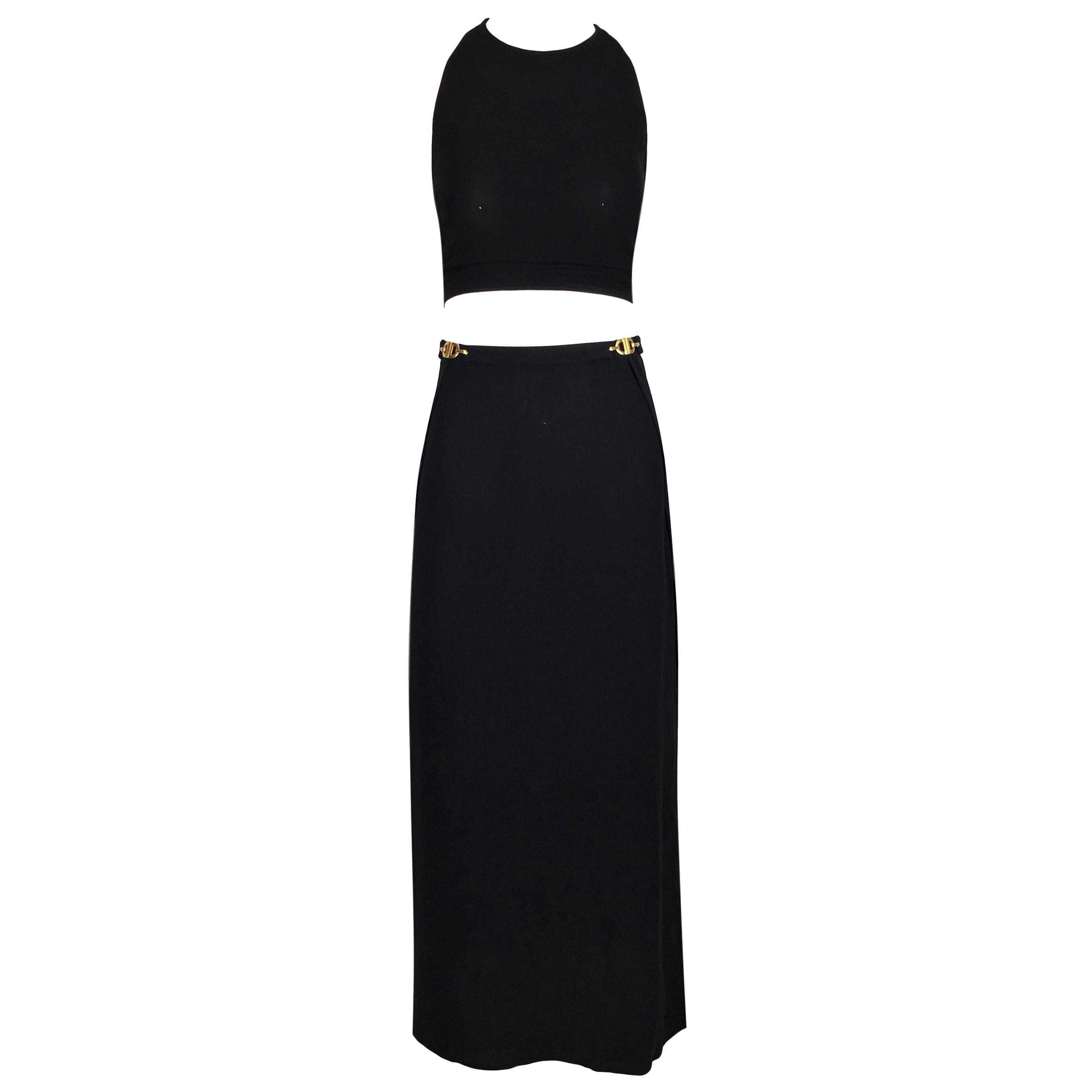 S/S 1997 Christian Dior Gianfranco Ferre Gold Buckles Black Crop Top & Skirt Set