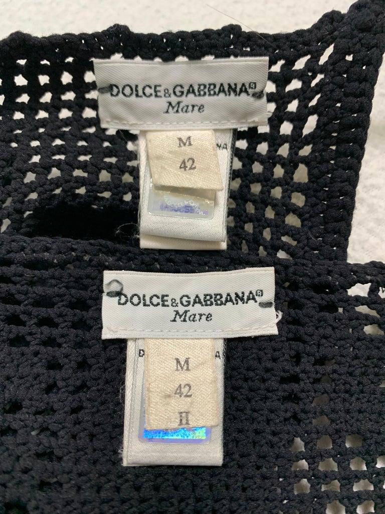 S/S 1997 Dolce & Gabbana Sheer Black Crochet Bikini Swimwear In Excellent Condition For Sale In Yukon, OK