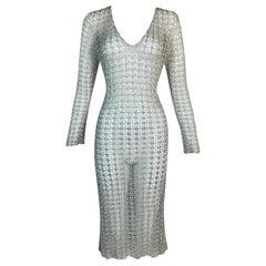 S/S 1997 Dolce & Gabbana Sheer Silver Knit Midi Dress
