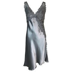 S/S 1997 Gianni Versace Silver Lace & Silk V-Neck Slip Dress