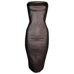 S/S 1997 Gucci Tom Ford Runway Metallic Brown Bodycon Tube Dress