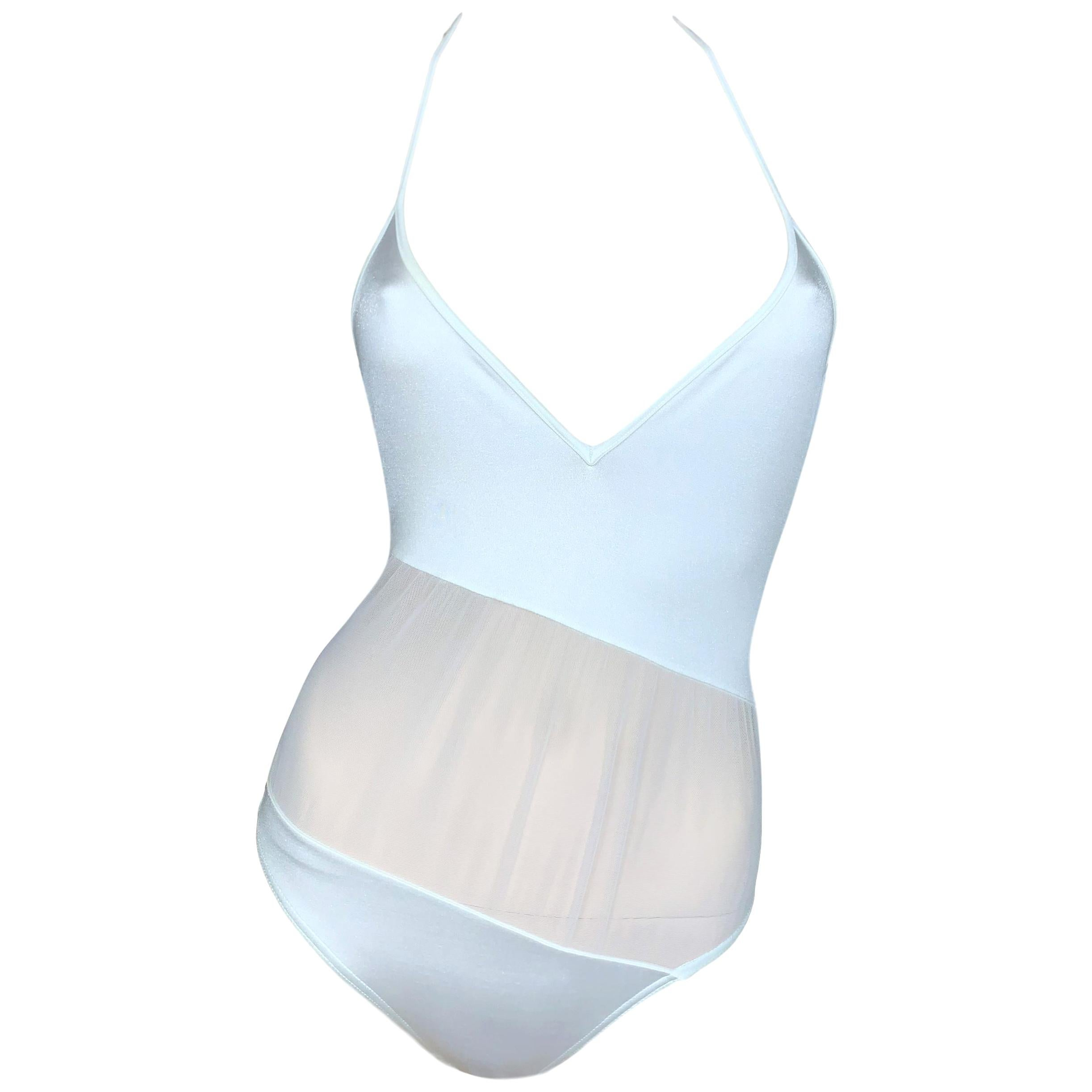 S/S 1997 Gucci Tom Ford Sheer White Mesh Plunging Swimsuit