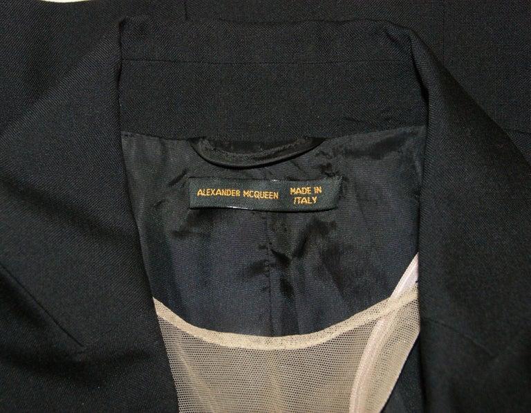 Black S/S 1998 Alexander McQueen Savage Beauty Met Museum Mesh Tuxedo Mini Dress 40