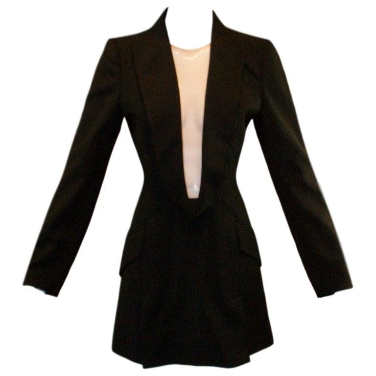 S/S 1998 Alexander McQueen Savage Beauty Met Museum Mesh Tuxedo Mini Dress 40 For Sale