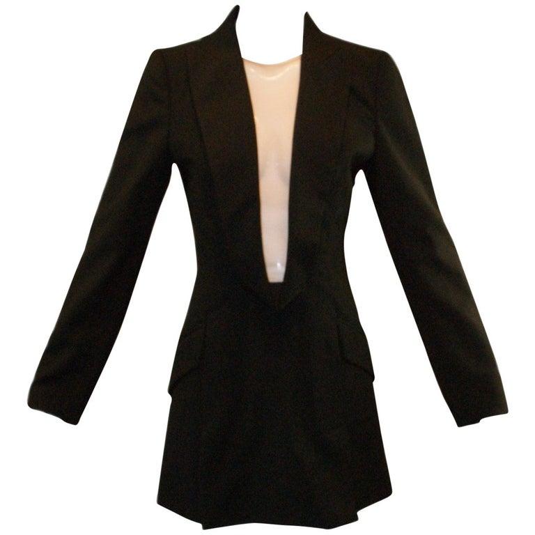 S/S 1998 Alexander McQueen Savage Beauty Met Museum Mesh Tuxedo Mini Dress 40