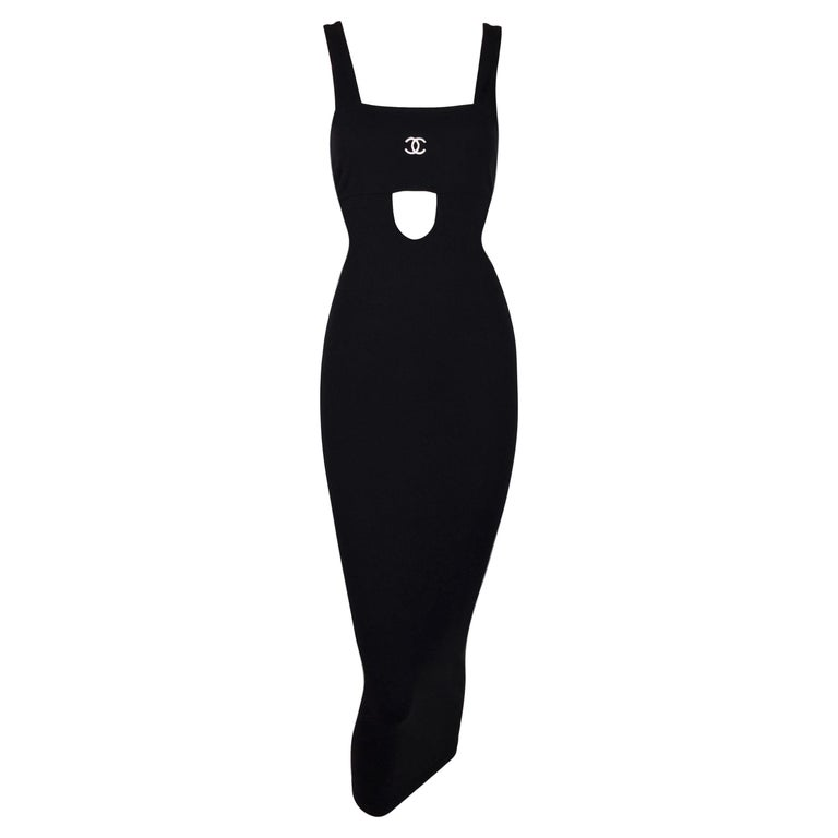 S/S 1998 Chanel Black Cut-Out Bodycon Pin-Up Wiggle Dress For Sale