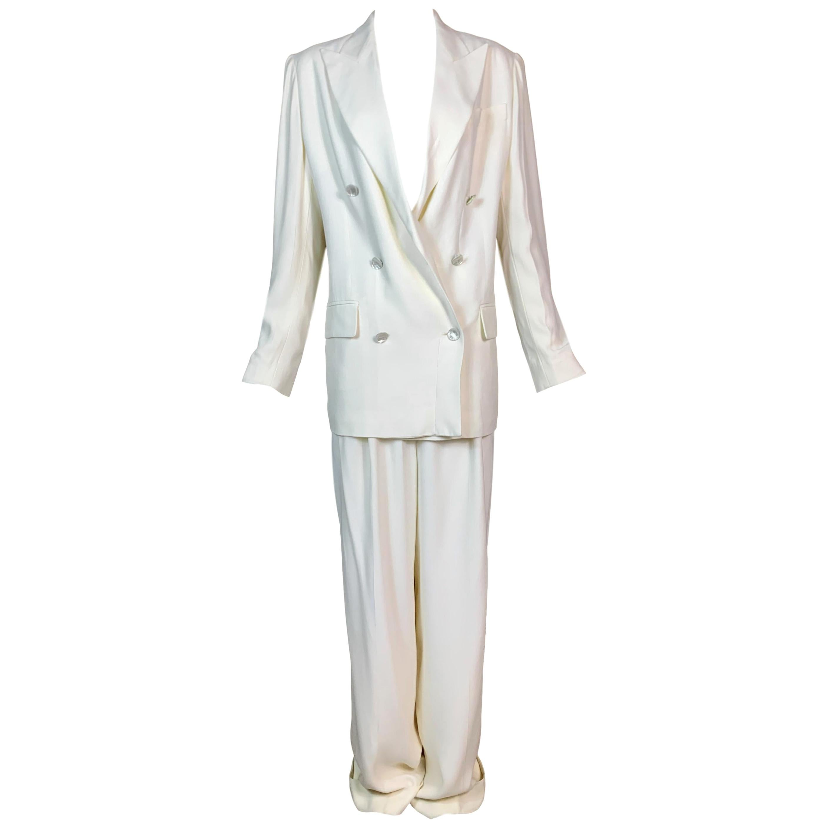 S/S 1998 Christian Dior by John Galliano 1920's Starlet Baggy Ivory Pant Suit