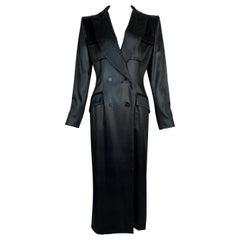 S/S 1998 Christian Dior John Galliano Black Coated Tuxedo Coat Maxi Dress