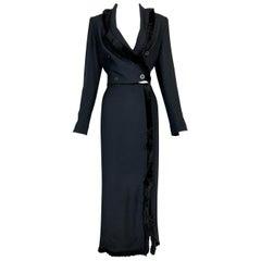 S/S 1998 Christian Dior John Galliano Cropped Fringe Black Jacket & Skirt Suit