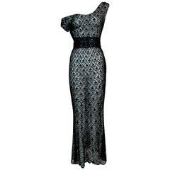 S/S 1998 Christian Dior John Galliano Sheer Black Embroidered Mesh Maxi Dress