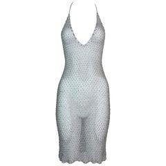 S/S 1998 Christian Dior John Galliano Sheer Silver Beaded Plunging Mini Dress