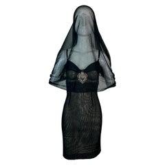 S/S 1998 Dolce & Gabbana Runway Ad Sheer Mesh Madonna Veil Charm Mini Dress 42