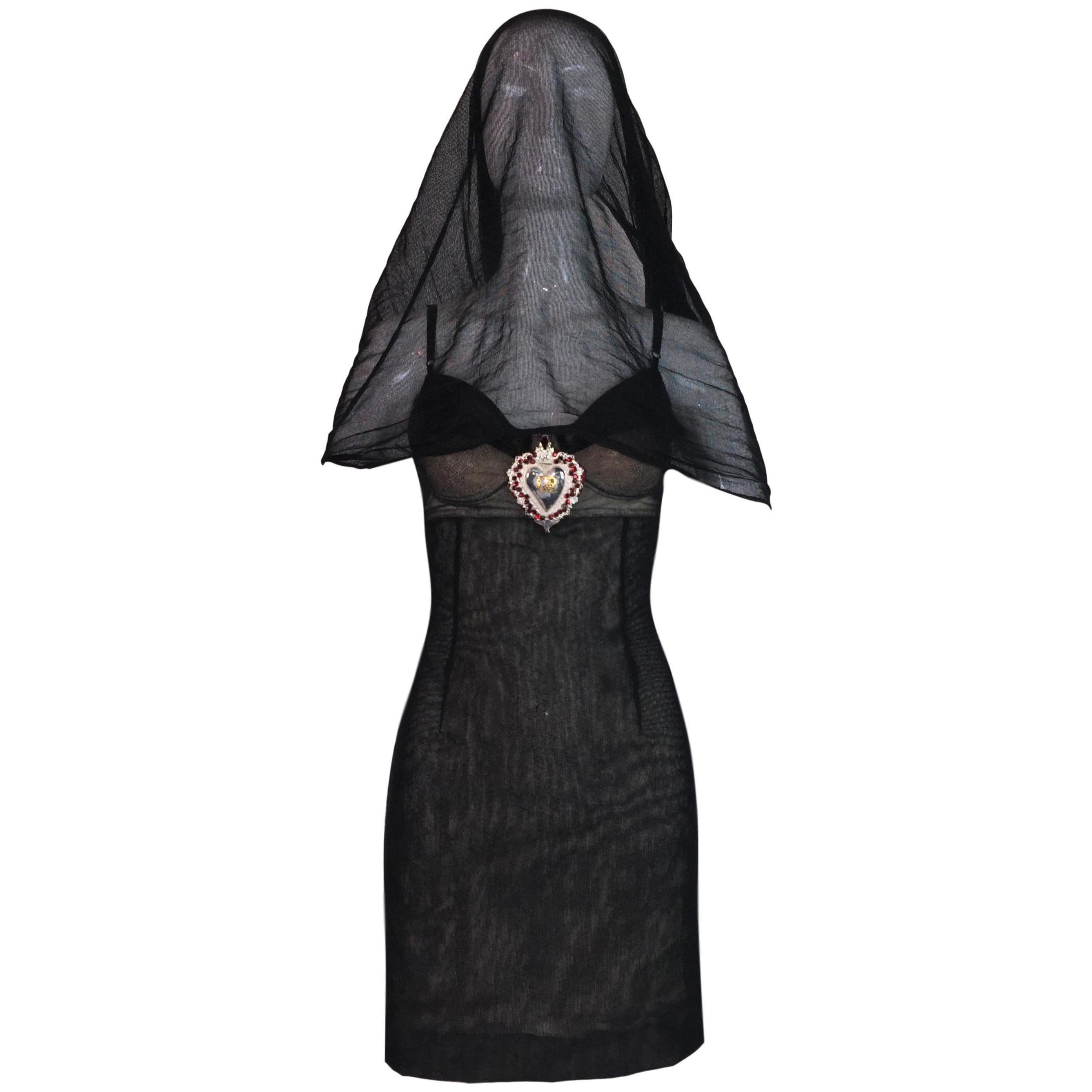 S/S 1998 Dolce & Gabbana Runway Ad Sheer Mesh Madonna Veil Charm Mini Dress