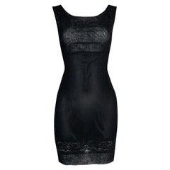 S/S 1998 Dolce & Gabbana Sheer Black Mesh Lace Mini Dress