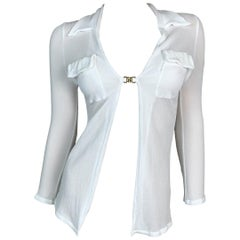 S/S 1998 Gucci by Tom Ford Sheer White GG Logo Buckle Top