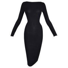 S/S 1998 Gucci by Tom Ford Strappy L/S Black Knit Bodycon Wiggle Dress 38