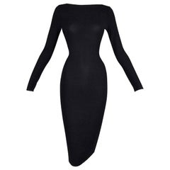 S/S 1998 Gucci by Tom Ford Strappy L/S Black Knit Bodycon Wiggle Dress 42