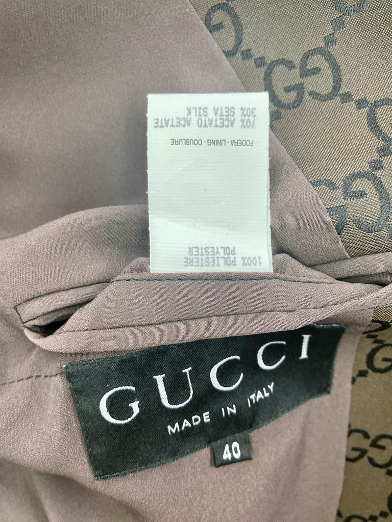S/S 1998 Gucci by Tom Ford Woven GG Monogram Satin Brown Pantsuit For Sale 5