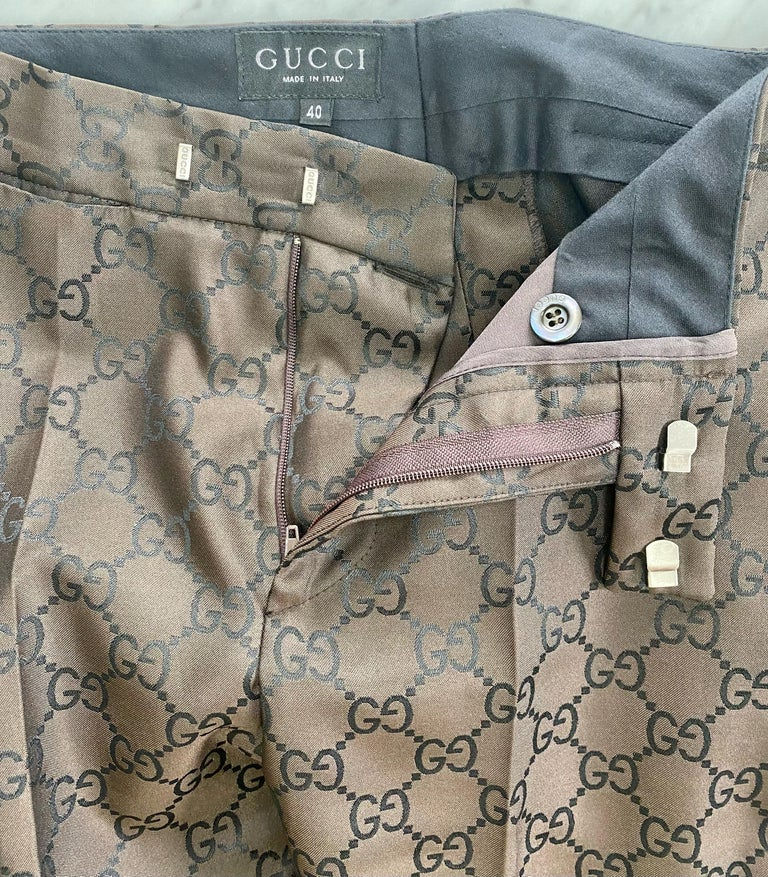S/S 1998 Gucci by Tom Ford Woven GG Monogram Satin Brown Pantsuit For Sale 6