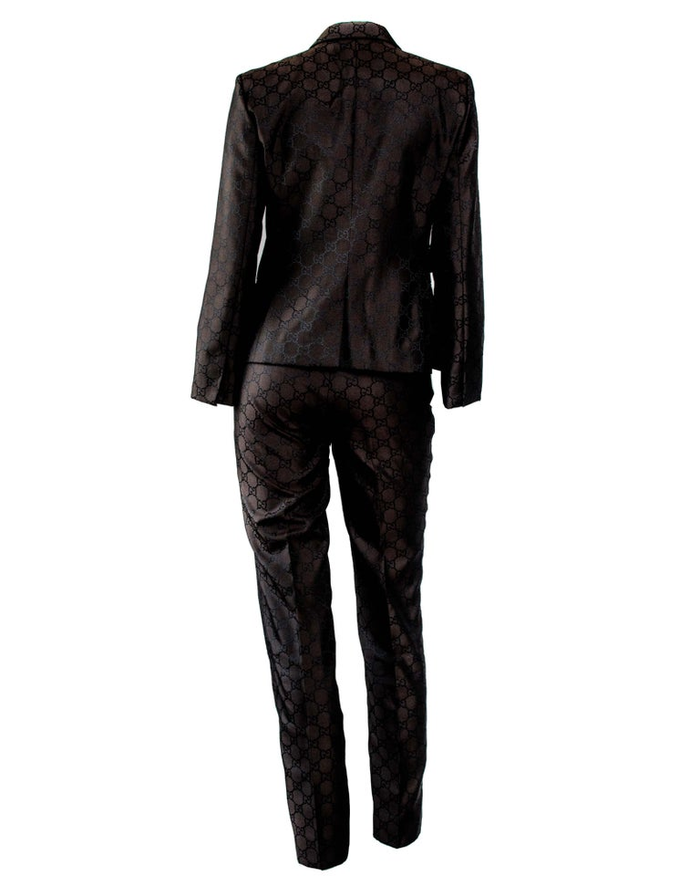Black S/S 1998 Gucci by Tom Ford Woven GG Monogram Satin Brown Pantsuit For Sale