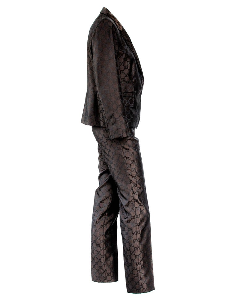 S/S 1998 Gucci by Tom Ford Woven GG Monogram Satin Brown Pantsuit In Good Condition For Sale In Philadelphia, PA