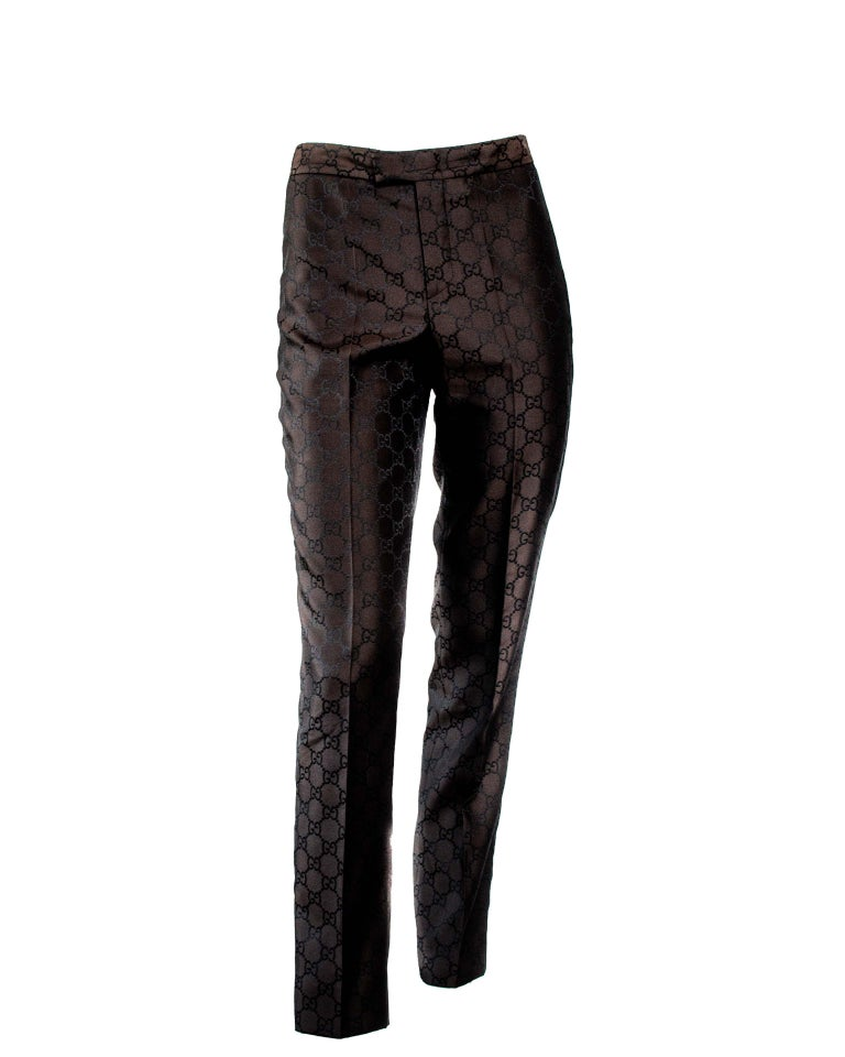 Women's S/S 1998 Gucci by Tom Ford Woven GG Monogram Satin Brown Pantsuit For Sale