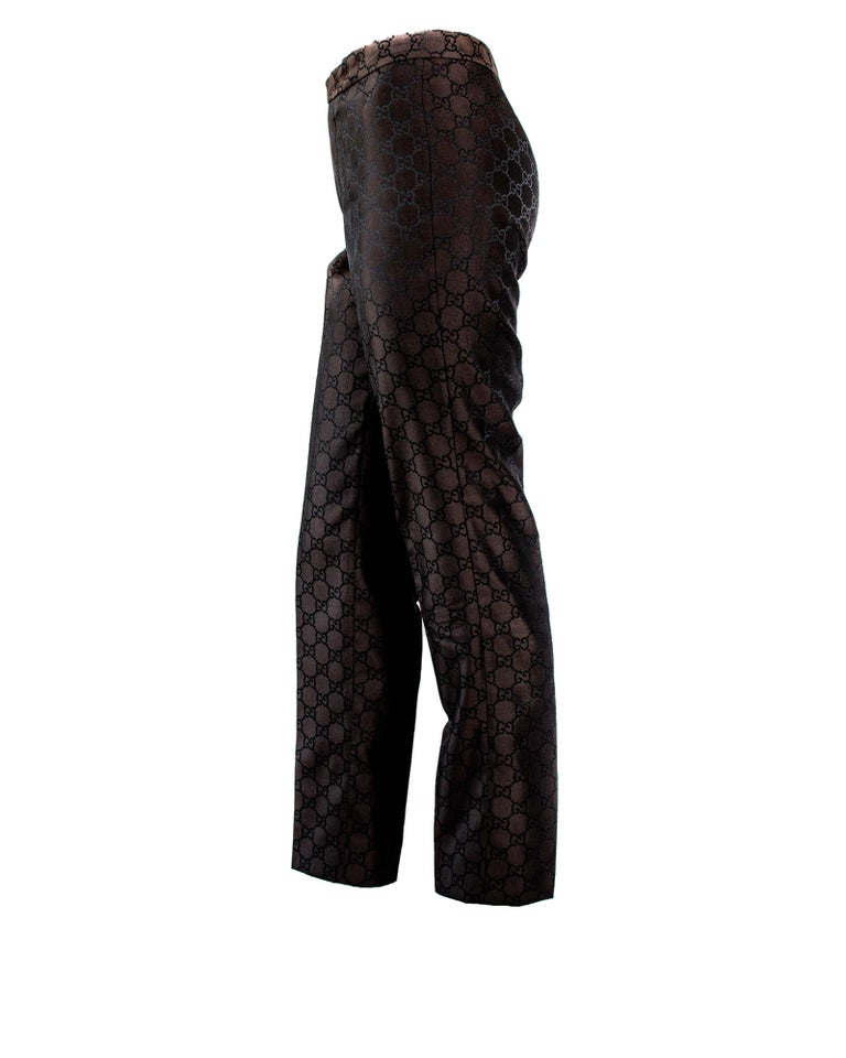 S/S 1998 Gucci by Tom Ford Woven GG Monogram Satin Brown Pantsuit For Sale 1