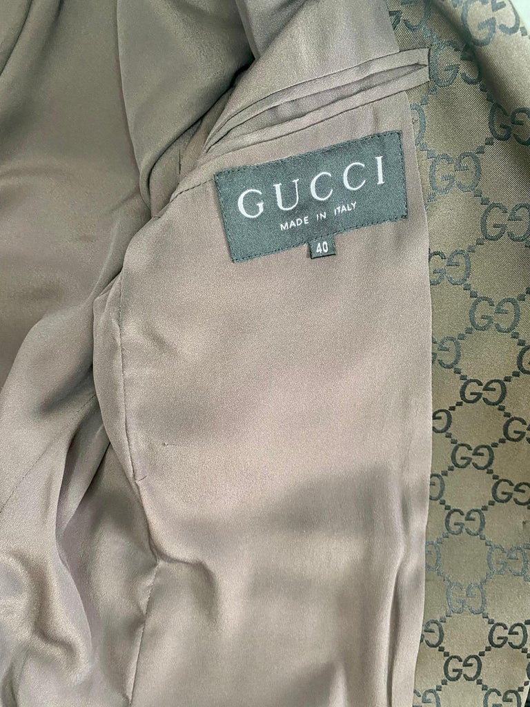 S/S 1998 Gucci by Tom Ford Woven GG Monogram Satin Brown Pantsuit For Sale 4