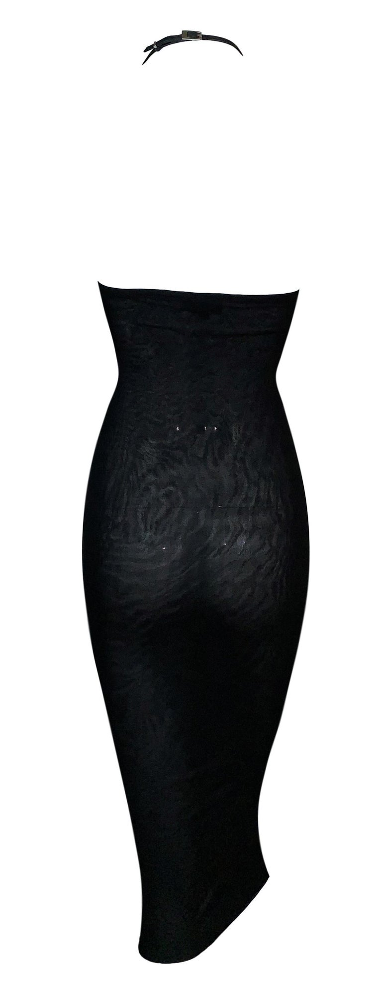 S/S 1998 Gucci Tom Ford Sheer Black Bodycon Leather Choker Wiggle Dress In Good Condition For Sale In Yukon, OK