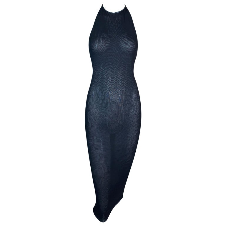 S/S 1998 Gucci Tom Ford Sheer Black Bodycon Leather Choker Wiggle Dress For Sale