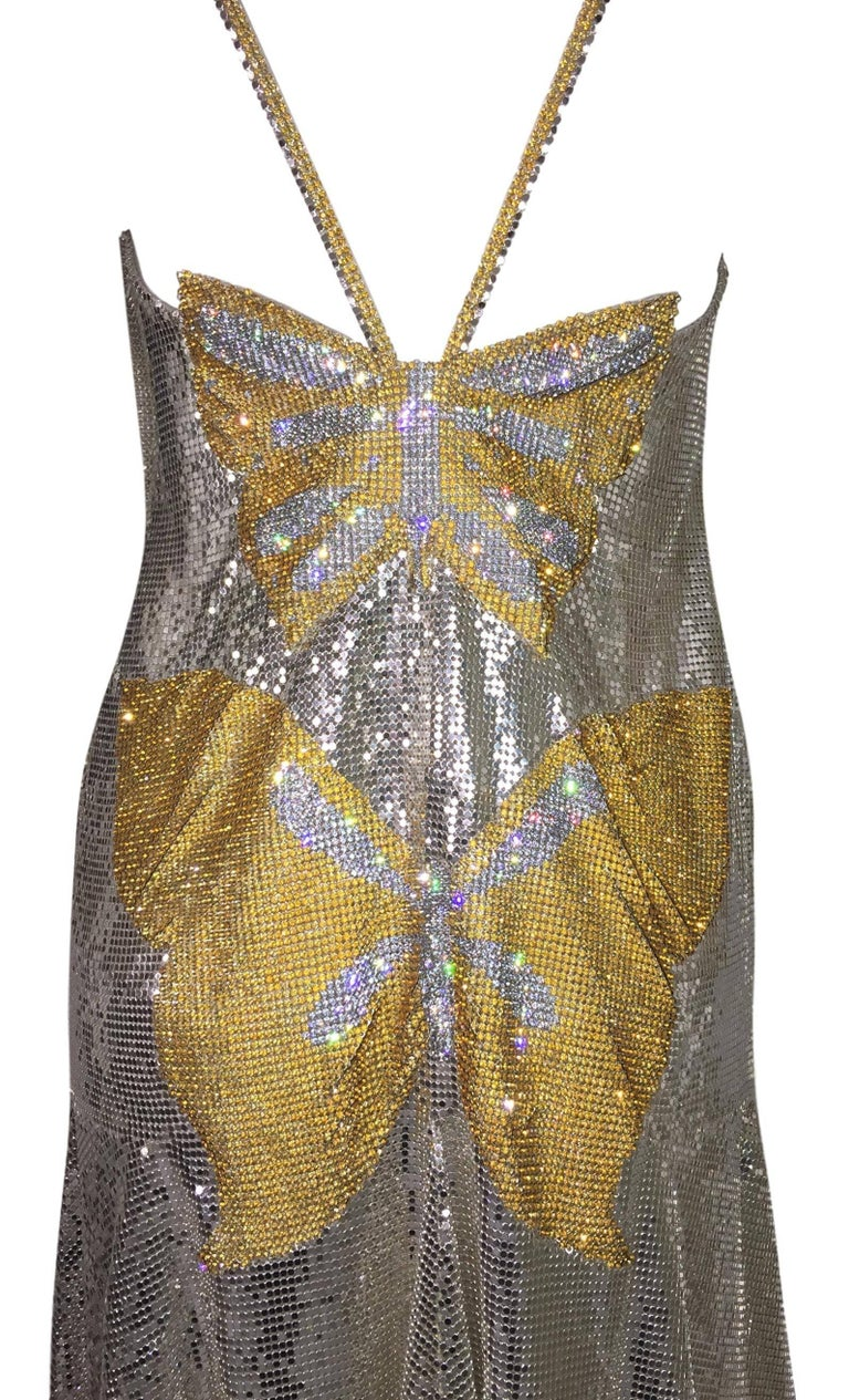 Brown S/S 1999 Atelier Versace Runway Kate Moss Runway Butterfly Metal Chainmail Dress For Sale