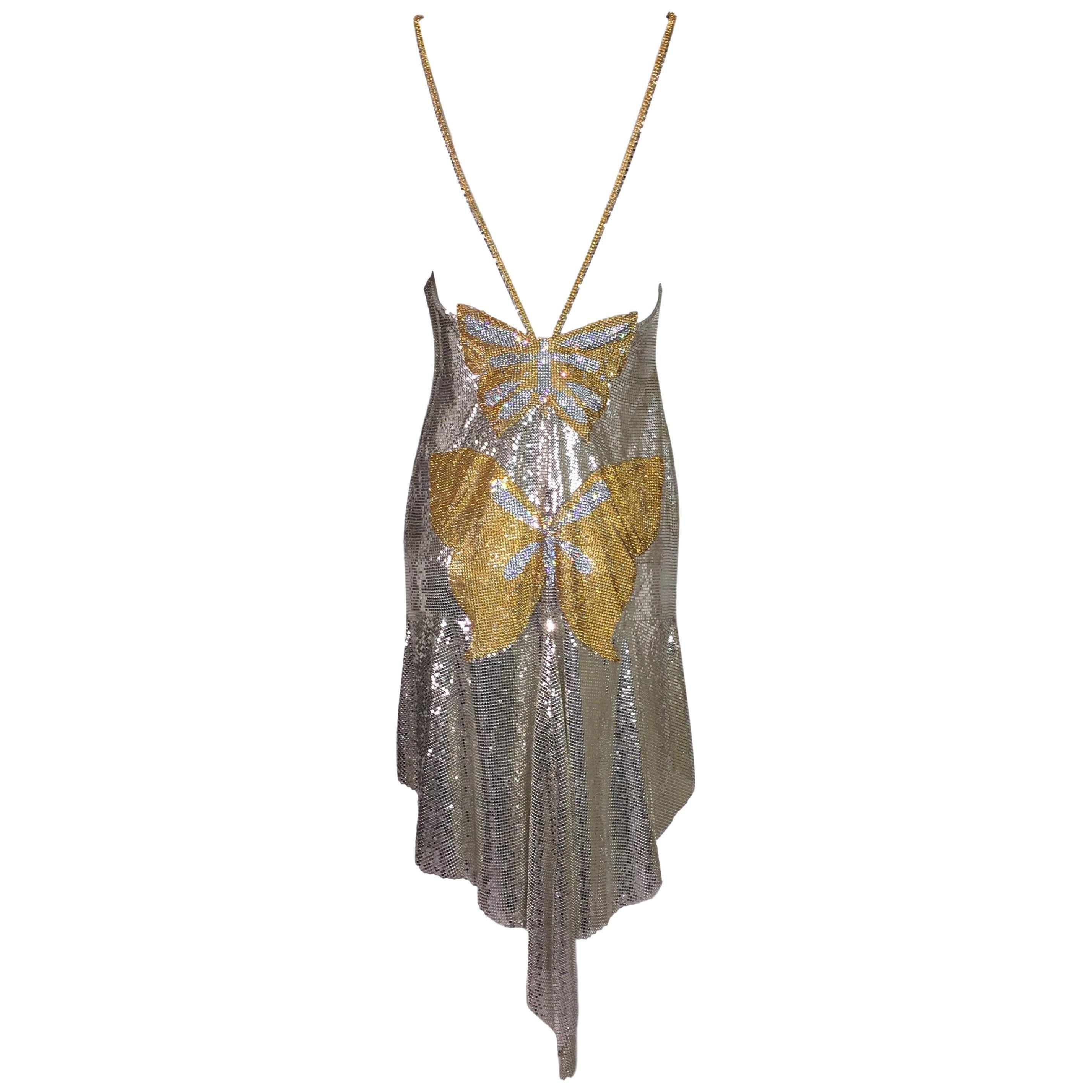 S/S 1999 Atelier Versace Runway Kate Moss Runway Butterfly Metal Chainmail Dress
