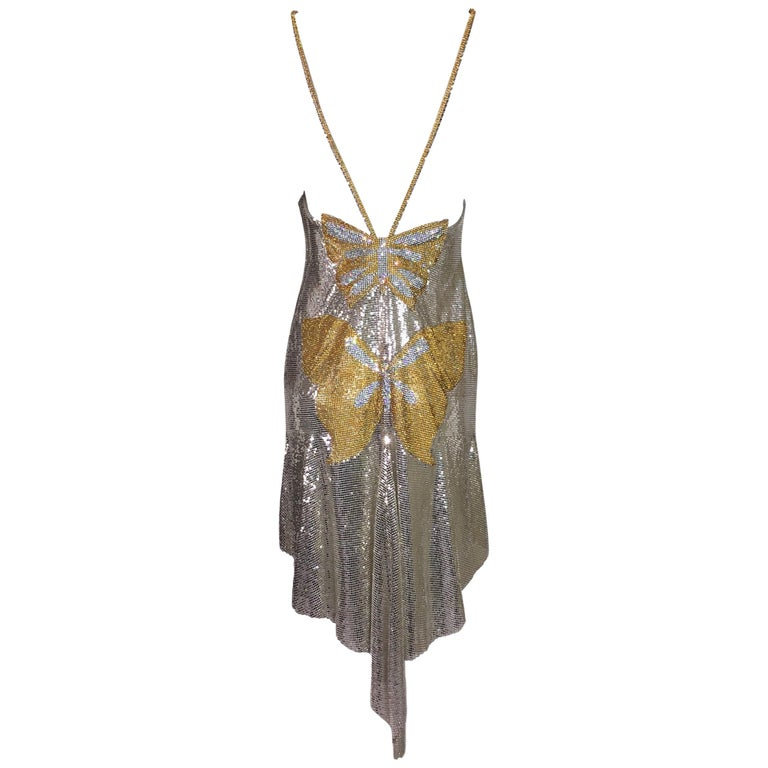 S/S 1999 Atelier Versace Runway Kate Moss Runway Butterfly Metal Chainmail Dress For Sale