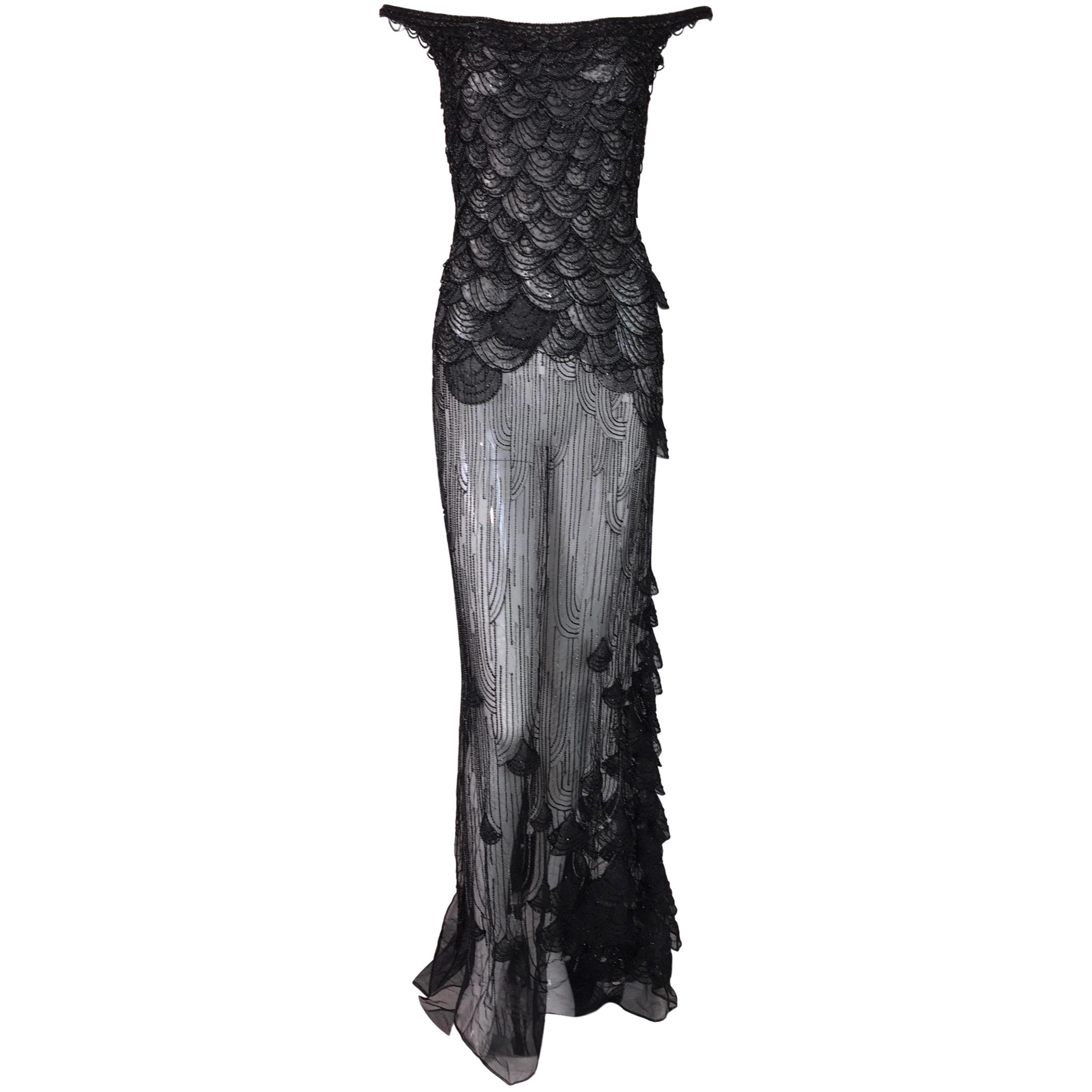 S/S 1999 Atelier Versace Runway Sheer Black Mesh Beaded Embellished Gown Dress