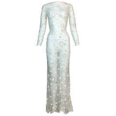 S/S 1999 Atelier Versace Sheer Ivory Mesh Crystal Embellished Gown Dress