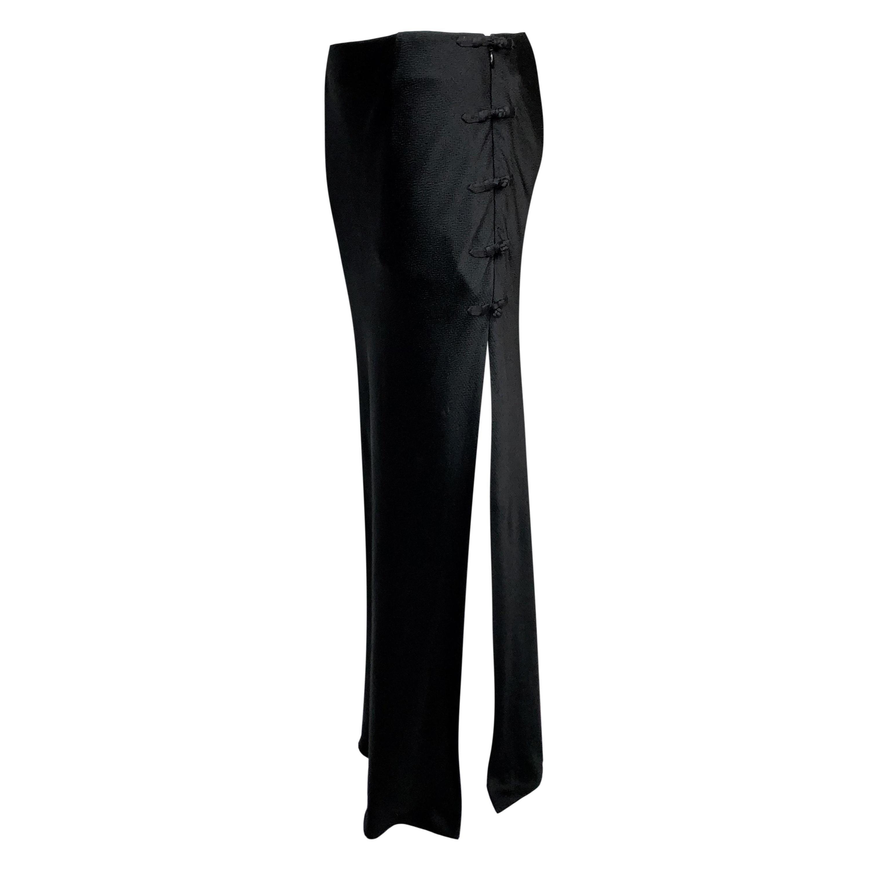 S/S 1999 Christian Dior John Galliano Chinoiserie High Slit Black Maxi Skirt
